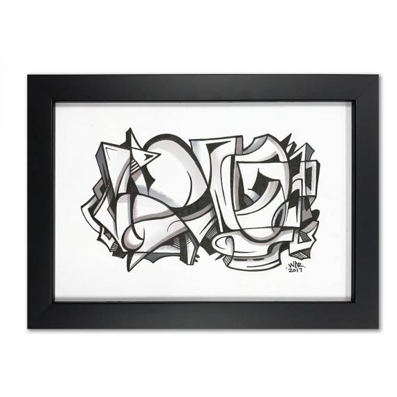 Ollie - Original ink drawing on Paper | Signed - Framed and Ready to Hang - 6x9