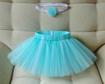 Turquoise tutu skirt and headband/ Baby girl TuTu/ Wedding and birthday outfit/ newborn tutu set Tutu for girl  Black Friday Summer tutu