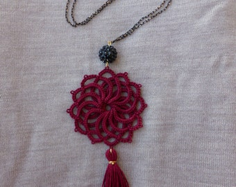 Wine red tatted pendant ,statement necklace , tatted jewelry , handmade , tassel necklace