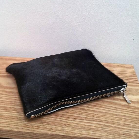 cowhide purse - natural black hairon cowhide