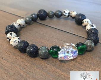 "Men's Natural Stone Elastic Bracelet - ""Balance and Truth"" (Dalmatian Jasper, Lava Rock, Green Garnet, Swarovski Crystal)"