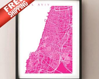 Tel Aviv Map Art Print - Israel Poster
