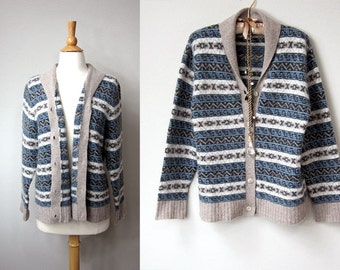 Soft and Warm Aztec Tribal Vintage Lambswool and Angora Blend Cardigan Sweater in Blue, Grey, Ivory and White, with Gray Shawl Collar