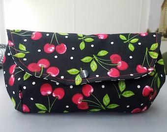Cherry - polka - dot  - Rockabilly - pinup - retro - envelope - clutch - purse