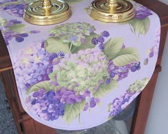 "Hydrangea Table Runner 36"" Reversible Purple Hydrangea Table runner Shabby Chic Table Runner Lavender Table Runner  Soft Purple Table Runner"