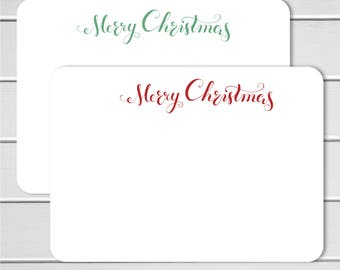 Merry Christmas Note Cards - 24pk, Flat Note Cards, Printed without Envelopes (NC-024)