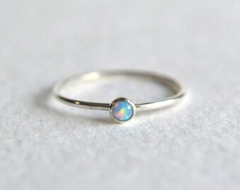 Sterling Silver Blue Opal Ring, Silver Opal Ring, Opal Ring Silver, Stacking Ring, Dainty Ring, Stackable Ring, Sterling Silver Simple Ring