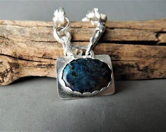 Sterling Silver Bracelet, Shattuckite Silver Bezel, Handmade Silver Chain Bracelet, Urban Chic Jewelry, Rustic Urban, Artisan Jewelry