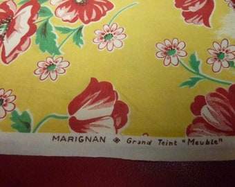 2 cut cotton vintage yellow red flowers - Marignan France