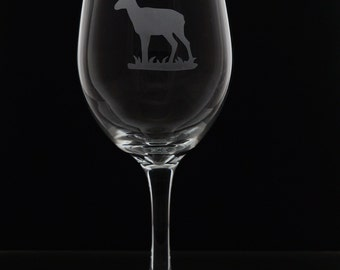 Antelope Stemmed Wine Glasses - Etched Antelope Stemmed Wine Glass - Etched Wine Glasses - Wine Glasses - Etched Glasses - One Glass