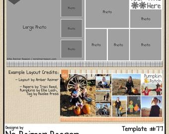 12x12 Digital Scrapbooking Template (2 Page Scrapbook Layout) #77