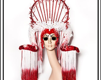 Sumptuous Delights… Huge Sparkly Headdress In Red and White with Ram Horns Fringe Sequins Rhinestones Lace