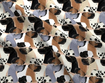 Watercolor Great Dane Fabric - Great Danes By Eclectic House - Watercolor Dog Cotton Fabric By The Yard With Spoonflower