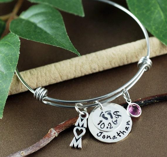 Personalized Name Bracelet, New Mom Bracelet, Baby Name Bracelet, Baby Feet Jewelry, Personalized Jewelry, Mother's Bracelet, Gift for mom
