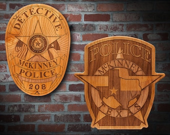 Personalized Wooden McKinney TX Police Badge or Patch Plaque