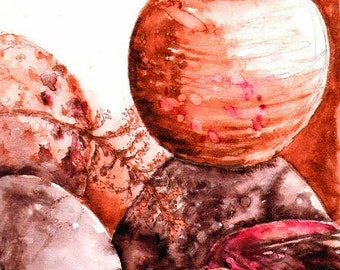 Plein Aire Watercolor Sketch of Pit-fired Pottery
