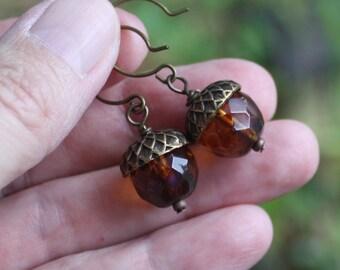 Autumn Acorn Earrings - Amber Czech Earrings, Antiqued Brass Findings, woodland earrings, woodland jewelry, czech earrings, acorn jewelry