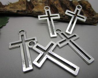 5 Big Christian Charms - Antique Silver Cross Charms Pendant  - MC1257