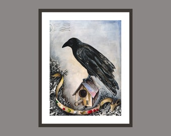 Raven Crow Wall Art Print Wall Decor Poster Ink Watercolor Pastel Drawing Bird House Fruits Cherry Sky Modern Classic Gothic Steampunk Art