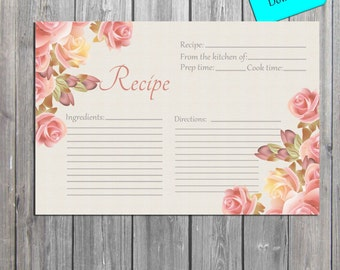 Antique Flowers Recipe Card INSTANT DOWNLOAD digital Recipe Card, Bridal Tea cards, also available professionally printed