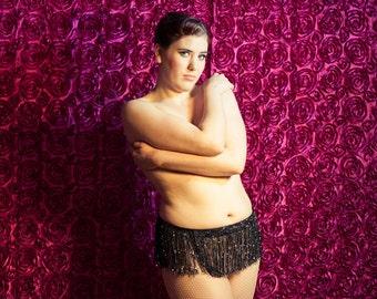 Burlesque Costume Fringe Shimmy Belt - Black  - Custom Size Regular & Plus