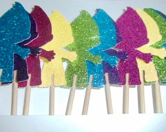 Troll Glitter Cupcake Toppers (Sets of 12)