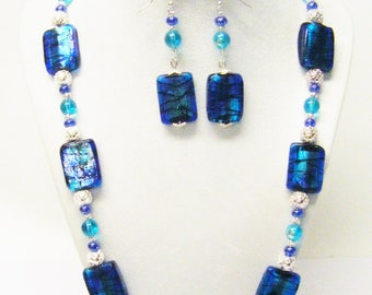 Beautiful Rectangle Blue/Silver Foil Lined Glass Bead Necklace/ Bracelet/Earrings