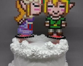 Link and Zelda Cake Toppers - Zelda Kissing Link Gamer Wedding Decorations 6 inch
