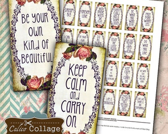 Simple Words 1x2 Domino Collage Sheet Quote Printable Images for Pendants Domino Tiles Magnets Decoupage Jewelry Calico Collage Art