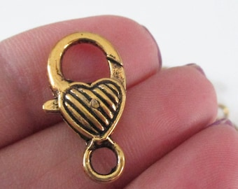 Gold Lobster Clasp - Heart Shaped Lock Clasp - Extra Large - Metal Lobster Clasp - 26mm - Diy Craft Jewelry Findings - 8 Pcs Bulk Options