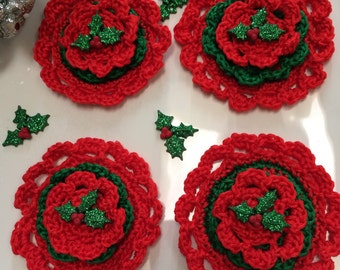 4 crochet Christmas  flowers. Includes Leaf and Berry button. decorating, scrapbooking, brooches, headbands & more,