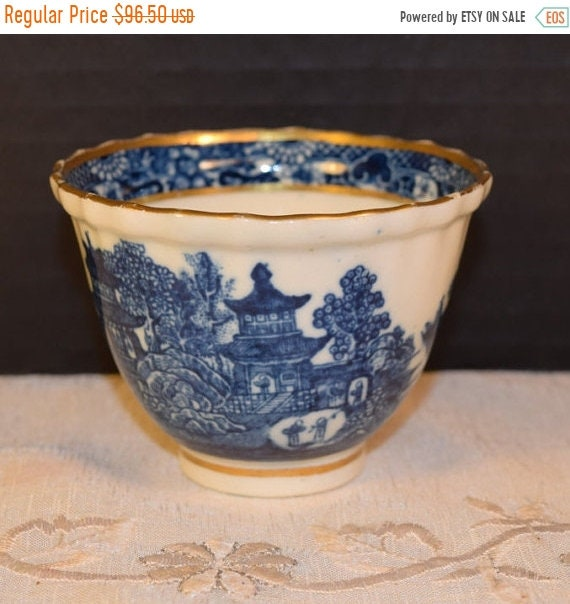 Delayed Shipping Salopian Blue Willow Tea Bowl Vintage Caughley Blue & White Footed Tea Cup Gold Accent Fine English China 18th Century Tabl