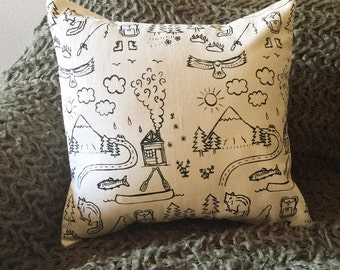 Pillow Cover - mountains - 16 x 16 Hand Printed Design - outdoors, national parks, nature, home decor, cabin, fishing, hiking, men, women