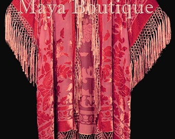 Coral Fringe Jacket Kimono Duster Silk Burnout Velvet Maya Matazaro Plus