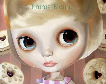 Blythe Doll art print  - Vanilla the Baby - big eyed art