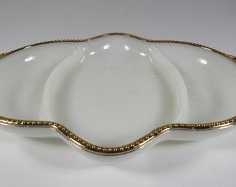 Vintage FIRE KING Milk Glass Gold Rim Anchor Hocking Divided Dish