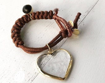 Brown Bracelet. Handmade Bracelet. Heart Bracelet. Free Shipping to USA
