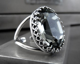 Black Night Oval Crystal Ring, Dark Grey Gray Swarovski Crystal with Vintage Style Crown Bezel, Antiqued Silver Adjustable Ring Band 4127