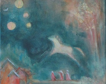 Mists of Dawn original horse mixed media painting Horse art wall decor