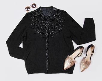 60s black cashmere & sequin Betty Draper cardigan - Size Large
