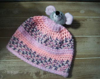 Crochet Baby Winter Mouse Hat sized to fit newborns to 6 months