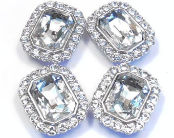 Four 2 Hole Slider Beads Silver Tone 15mm Clear Faceted Glass Cabochons & 3mm Clear Crystal Studded Frame, Clear Rhinestone Slider Beads