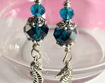 Sea Horse Dangle Earrings with multi colored Teal Crystal Beads
