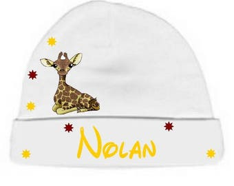 Personalized with name White little giraffe baby Hat
