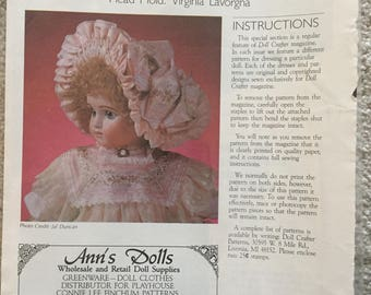"""Doll Crafter Pattern: Bourgoin Bonnet Pattern for 16"""" Doll Head"""