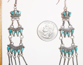 Native American Turquoise And Sterling Silver Dangle Earrings