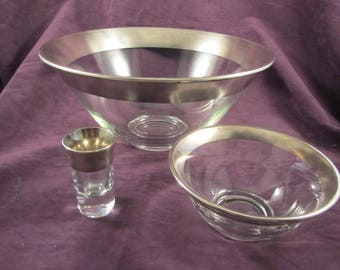 Dorothy Thorpe Silver Band 3 pc. Chip & Dip set with Toothpick Holder
