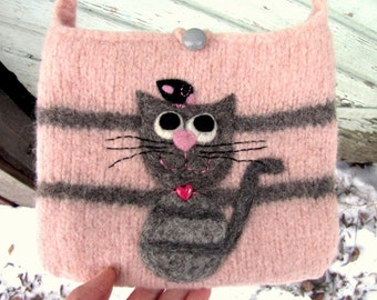 Felted bag purse pale pink gray wool handbag shoulderbag hand knit needle felt cat and birdie