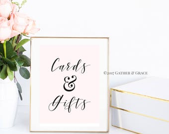 Cards and Gifts - Gift Table Sign - Gift Table Printable - Gift Table- Wedding Decor - Wedding Sign - Party Decor - Gifts - blush pink