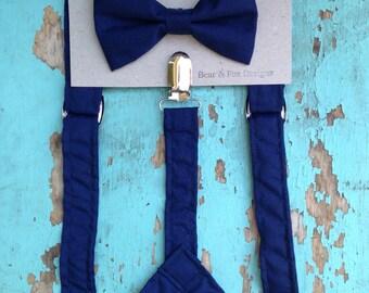 Boys Suspenders Bow Tie set Navy Blue